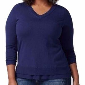 Lane Bryant Navy Chiffon Trim Sweater